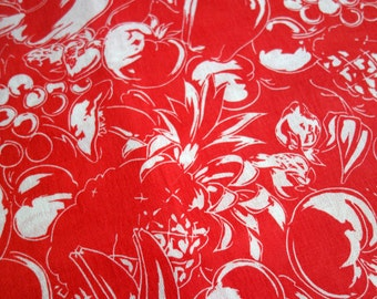 Fruit Vegetable Fabric, Five Yards of Lightweight Polyester Fabric in Red with White Vegetables and Fruits, by Crantex Cranston Print Works
