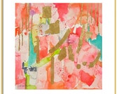 Coral Pink Abstract Watercolor Print-Fine Art Print-Giclee Print- Abstract Wall Art-Abstract Painting-Home Decor-Abstract Giclee Print
