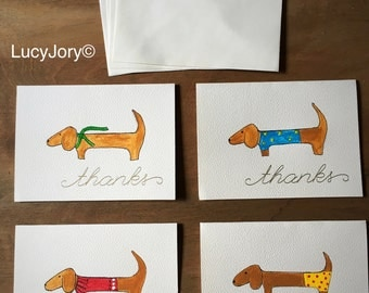 Dachshund set of 4 hand painted Thank You Cards