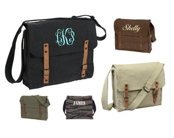 Monogrammed Personalized Medic Style Messenger Bag