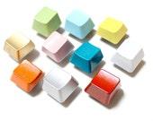 Geometric Magnet Set of 20 - Painted Colorful Keyboard Key Magnet Set - Rainbow - Free U.S. Shipping