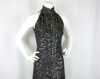 50% Off Sale Vintage 60s New Years Eve Sequined Gown, Cutaway Shoulders, Sz S, M