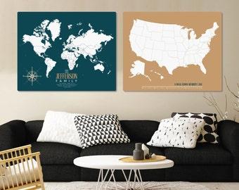 World Push Pin Family Travel Map Set, World Map Canvas Pushpin Map, USA Map, World Map, World Travel Map // H-I20-2PS AA4
