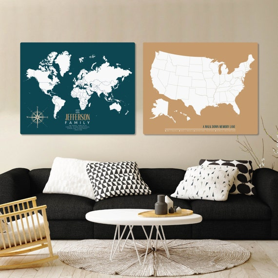 World Push Pin Family Travel Map Set Canvas Pushpin by PaperRamma – Family World Travel Map
