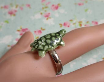 Green Turtle Ring, Ceramic Tortoise, Miniature Jewelry, Adjustable Size, Gift For Turtle Lover