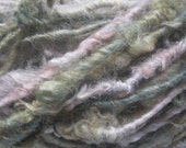 Handspun Soft Curly Textured Super Bulky Border Leicester Wool Art Yarn in Smoky Pink and Green by KnoxFarmFiber for Knit Weave Crochet