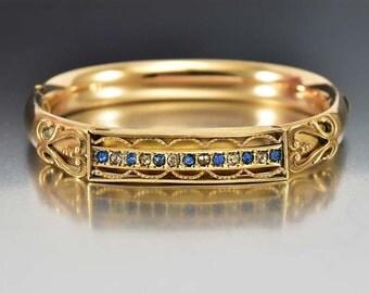 Victorian Bangle Bracelet, Gold Filled Bracelet, Crystal Rhinestone Sapphire Bracelet, Antique Jewelry, Victorian Hinged Bracelet, Gold Cuff