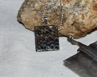 Pretty Peacock Scrabble Tile Necklace