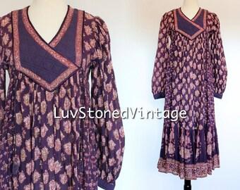 70s Vintage Phool Indian Cotton Gypsy India Hand Blocked Festival Boho Hippie Tent Midi Maxi Dress . SM . 1158.3.29.16