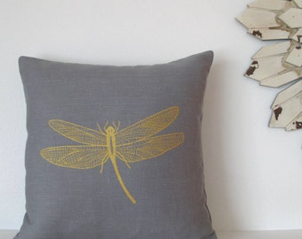 Pillow Cover - Cushion Cover - Dragonfly - 16 x 16  inches - Choose your fabric and ink color - Accent Pillow