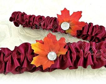 Fall leaves wedding garters, Burgundy and burnt orange bridal keepsake and throw garters.
