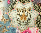 Cotton digital print fabric, digital fabric, tiger fabric, kids fabric, floral fabric, Hippie Tiger, glam fabric, Dutch design fabric