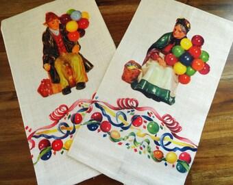 2 Royal Doulton Vintage Figure Kitchen Tea Towels UNUSED Balloon Man Old Balloon Seller