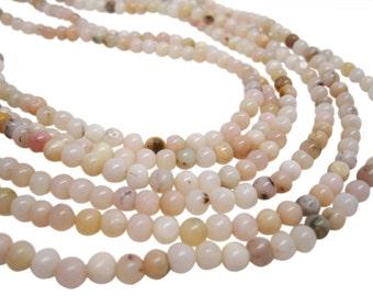 Pink Opal Beads, Pink Peruvian Opal, Pink Opal Round, 4.5mm Round, Smooth Round, SKU 4123A