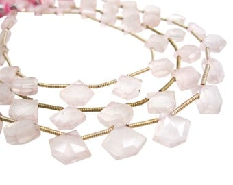 AAA Rose Quartz Briolettes Beads, Pentagon Briolettes, Luxe AAA, Fancy Shape, 8mm x 10mm, SKU 3772