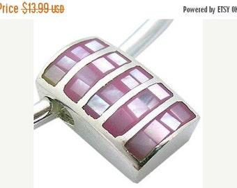 SALE Pink Mother of Pearl Pendant, Sterling Silver Pendant, Handmade in Bali, SKU 4832