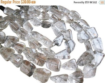 SALE Tourmalated Quartz Beads, Luxe AAA, Faceted Nuggets, Tourmalinated Quartz, 15mm x 27mm, SKU 1442A