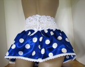 Slippery Shiny Satin Glossy Deep Blue with White Polka Dots Pretty Girl Frilly Sheer Skirt 4 your Sissy Panties Sizes XS S M L XL XXL