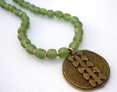African recycled glass bead necklace * Ethiopian brass necklace * tribal jewelry