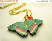 Green butterfly necklace ... wooden butterfly pendant with matching Swarovski crystal ... fluttery and free