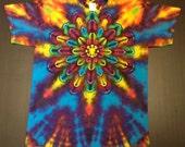 Tie Dye Shirt, Tie Dyed Shirt, Tiedye Shirt, Rainbow Tie Dye, Lotus Tie Dye, Flower Tie Dye, Size Large, Size L, Mandala Tie Dye