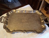 Vintage Silver Plate Large Footed Serving Tray With Handles UnmarkedAppetizer, hor d'oeuvres, Coffee/Tea Set