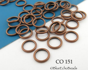 10mm Antiqued Copper Jump Ring Connector Closed Link (CO 151) 24 pcs BlueEchoBeads