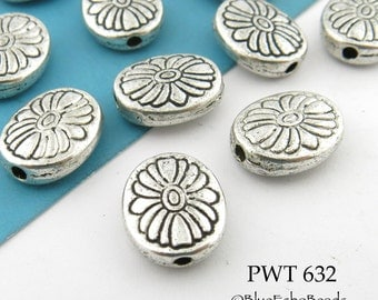 10x11mm Pewter Beads Oval flower Amtiqued Silver (PWT 632) 8pcs BlueEchoBeads