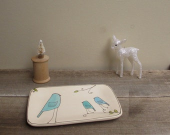 Ceramic blue bird dish, rectangle bird plate, cyber monday etsy