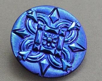 Vintage Style Czech 27mm Glass Button Metallic Blue, Decorative Pattern