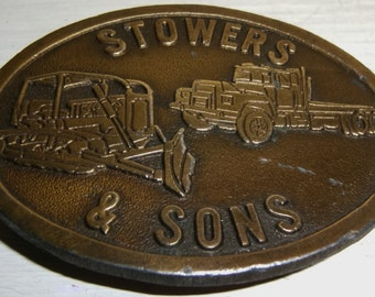 BELT BUCKLE Stowers Construction Truck Brass Plated Vintage