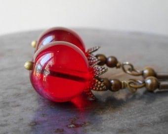 Pomegranate fruit earrings, beaded bronze earrings with glass beads, rustic jewelry brass, Persephone myth, bohemian jewelry handmade, boho