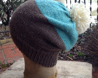 Grey Heather and Turquoise Hand Knit Hat w/ pompom