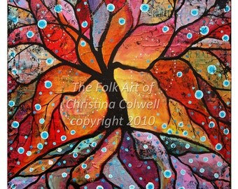 "Fiery Tree of Life Instant Download 8"" X 10"" and 12"" X 12""  printable art from original mixed media contemporary raw folk art"