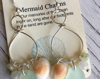 Sea Glass Sterling Silver Chandelier Earrings Seashells and Gemstones