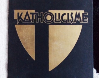 Dutch Art Deco original book cover art / 1930s black gold book cover design from Holland