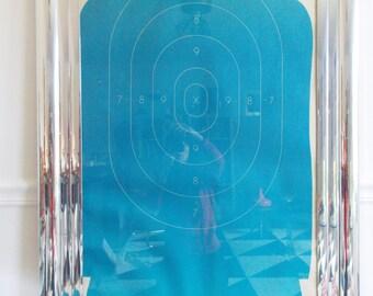vintage 1970s Target practice poster / Gun range poster / 70s Shooting target