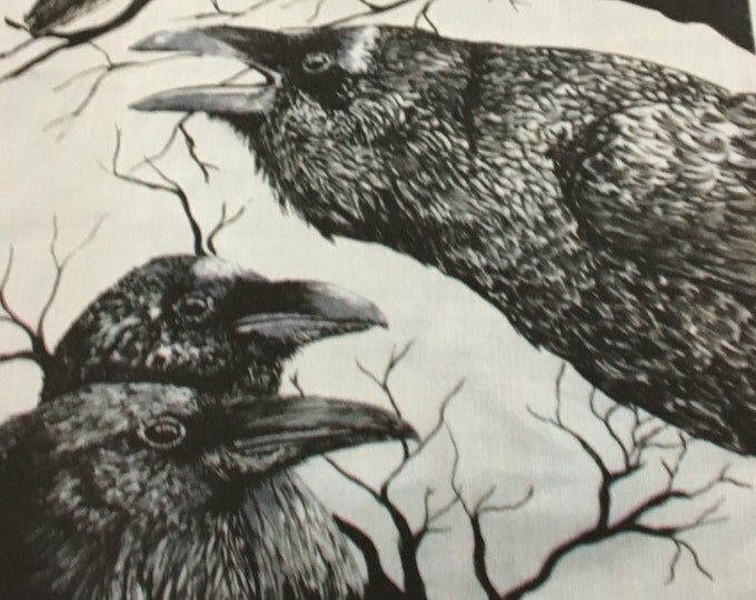 Original black and white Fabric Raven or crow penel by Cindy Watkins  cotton