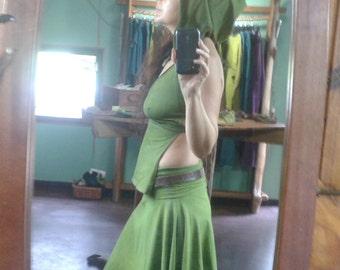 Hand dyed Leafy Green Hemp/organic cotton panel top