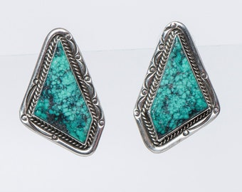 Big Navajo Turquoise Earrings - 80s Sterling Spiderweb Posts