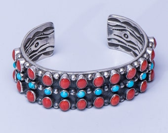 Navajo Row Bracelet - Coral & Turquoise Sterling Cuff - Signed Tillie Jon