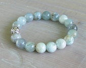 READY TO SHIP for Christmas! Natural Aquamarine Gemstone Healing Bracelet Sterling Focal Bead Gemstone Healing Bracelet Throat Chakra