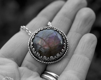 Sterling silver and Purple Labradorite bohemian necklace - Solely II  -