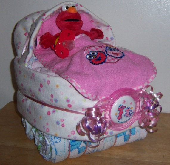 Baby shower sesame street diaper bassinet cookie monster big - Sesame street baby shower ...