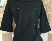 MOVING SALE Vintage Black 50s Wool Top Suit Rhinestones Satin Bow Satin Diamond Accents