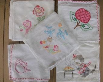 Vintage Embroidered Kitchen Linens Set of 5