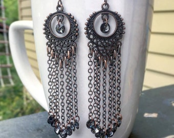 Long Exotic Antique Copper Chandelier Earrings with Dark Silver Swarovski Crystals