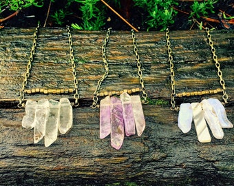 Long Gemstone Stick Necklaces