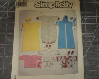 Vintage Simplicity 7871 Baby Clothes Pattern Kimonos, Gown, Sleeper, Diaper Shirt, Booties Pattern Size  NB=6 mo.  Uncut