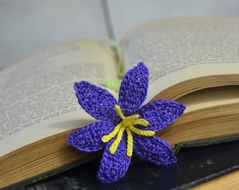 Deep Purple Lily Crocher Flower Bookmark